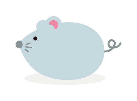 Simple flat character illustration of mouse (rat). Paternity (parent and child). For new greeting year card. Imagens - 127826913