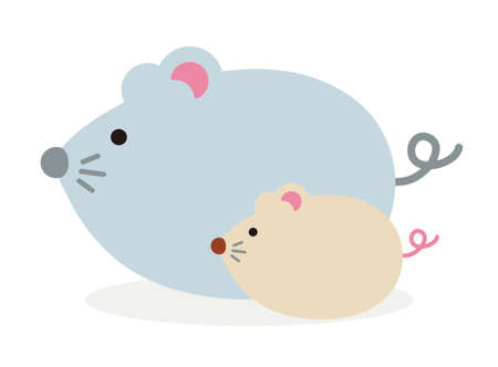 Simple flat character illustration of mouse (rat). Paternity (parent and child). For new greeting year card. Çizim
