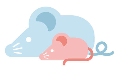 Simple flat character illustration of mouse (rat). Paternity (parent and child). For new greeting year card. Stock fotó - 127826928