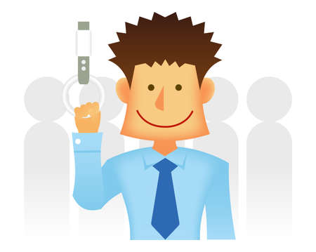 Asian business person vector flat illustration (upper body)  commuting person, commuter train Ilustração