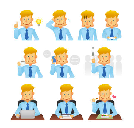 Young business person vector flat illustration set (upper body)  various business situations (commuting, coffee break, wo rking with computer, talking on phone etc.)