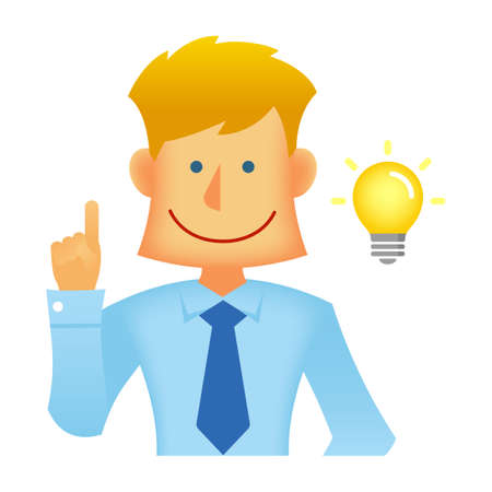 Young business person vector flat illustration (upper body) / inspiration, innovation Ilustração