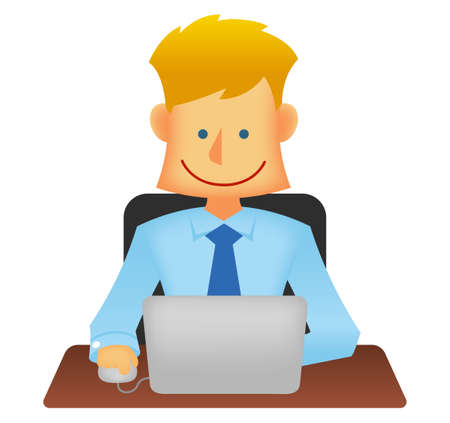 Young business person vector flat illustration (upper body) / working with a laptop computer  イラスト・ベクター素材