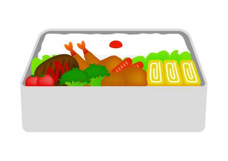 Japanese lunch box flat illustration