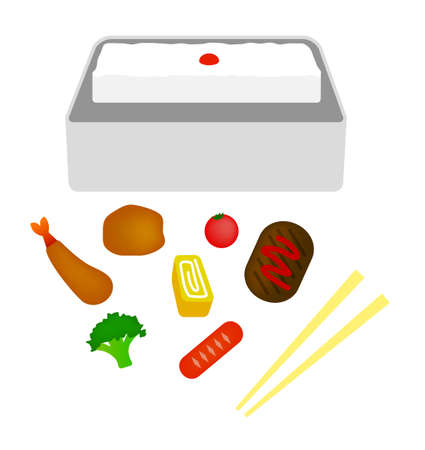 Japanese lunch box flat illustration (separated Parts)