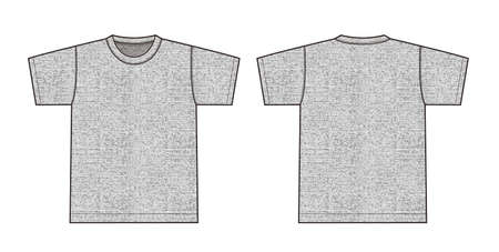 Short sleeve t-shirt illustration (heather gray) front,back 일러스트