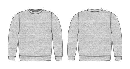 Illustration of sweat shirt ( heather gray )  front,back 일러스트