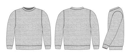 Illustration of sweat shirt ( heather gray )  front, back, side
