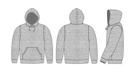 Illustration Hoodie / graumeliert (vorne, hinten, seitlich) Vektorgrafik