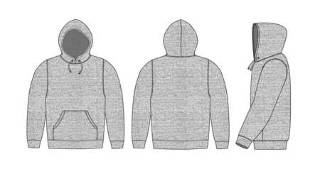 Illustration of hoodie heather gray (front,back,side)