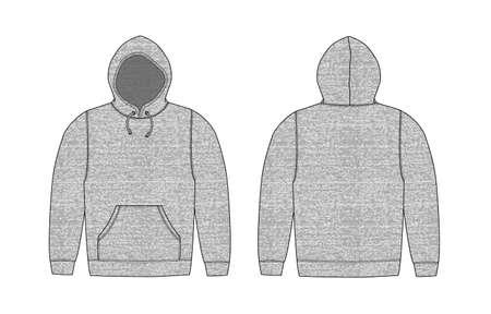 Illustration of hoodie heather gray (front,back) Illustration