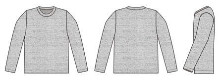Longsleeve t-shirt illustration (heather gray) /front,back,side