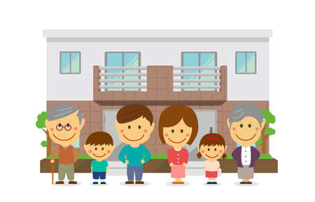 Two families home / duplex home. 3 generation happy family (asian). flat vector llustration (newly built house). Vectores