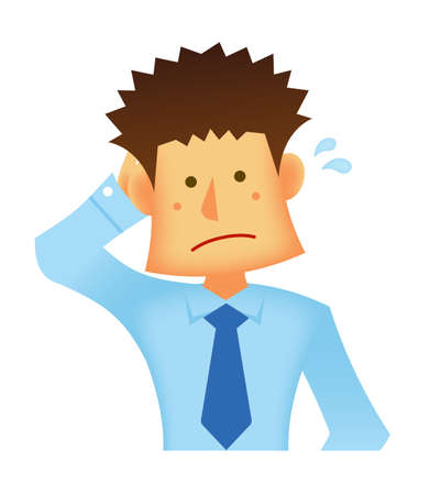Embarrassed businessman vector illustration @Young asian businessman 写真素材 - 128027570