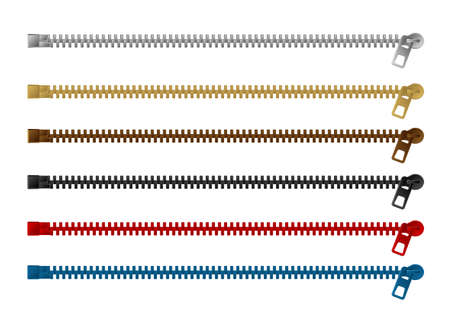 Reißverschluss () Vektorillustrationssatz (Farbvariationen/horizontal) Vektorgrafik
