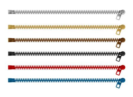 Zipper () vector illustration set (color variations / horizontal)