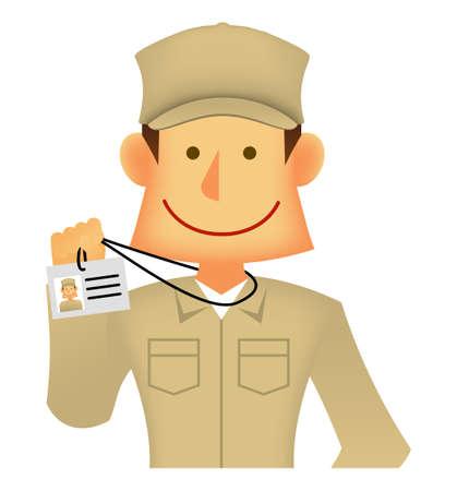 Young asian (Japanese, Korean etc.) blue collar worker (upper body) vector illustration (engineer,repairman,mechanic,deliv ery man etc.) Showing identification card Ilustração