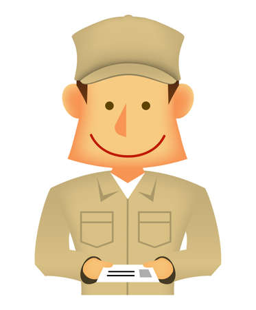 Young asian (Japanese, Korean etc.) blue collar worker (upper body) vector illustration (engineer,repairman,mechanic,deliv ery man etc.)  business card exchange Ilustração