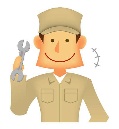 Young asian (Japanese, Korean etc.) blue collar worker (upper body) vector illustration (engineer,repairman,mechanic,deliv ery man etc.)  smiling