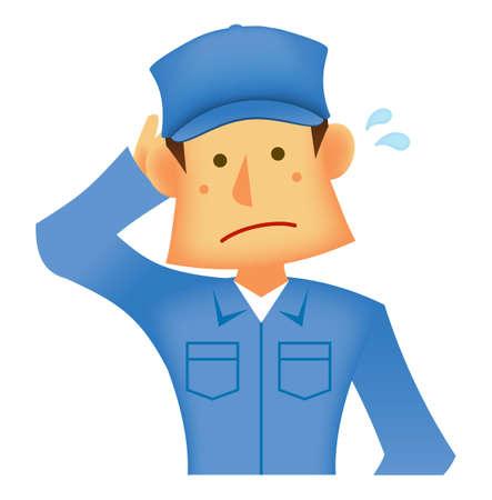 Young asian (Japanese, Korean etc.) blue collar worker (upper body) vector illustration (engineer,repairman,mechanic,deliv ery man etc.)  confused, embarrassed Ilustração