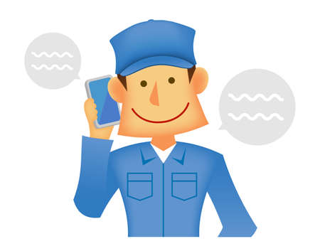 Young asian (Japanese, Korean etc.) blue collar worker (upper body) vector illustration (engineer,repairman,mechanic,deliv ery man etc.)  Talking on a mobile phone