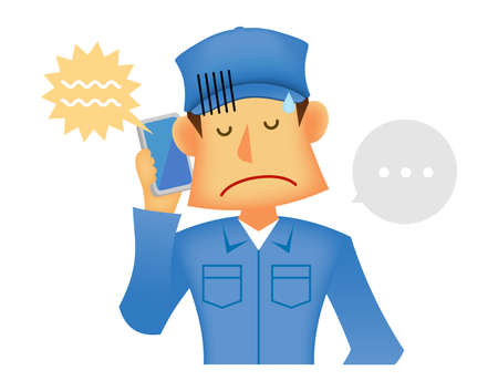 Young asian (Japanese, Korean etc.) blue collar worker (upper body) vector illustration (engineer,repairman,mechanic,deliv ery man etc.)  Scolded over the phone