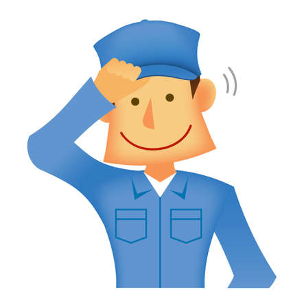 Young asian (Japanese, Korean etc.) blue collar worker (upper body) vector illustration (engineer,repairman,mechanic,deliv ery man etc.)  wiping sweat