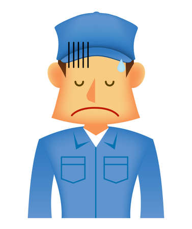 Young asian (Japanese, Korean etc.) blue collar worker (upper body) vector illustration (engineer,repairman,mechanic,deliv ery man etc.)  disappointe, depressed Ilustração