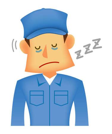 Young asian (Japanese, Korean etc.) blue collar worker (upper body) vector illustration (engineer,repairman,mechanic,deliv ery man etc.)  dozing,overwork,tired