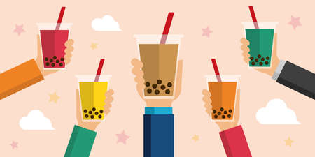 bubbles tea / bubbles soda flat vector banner illustration