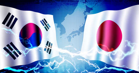 Confrontation politique entre la Corée du Sud et le Japon / illustration de fond de bannière web