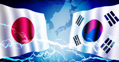 Political confrontation between Japan and South korea  web banner background illustration Banco de Imagens