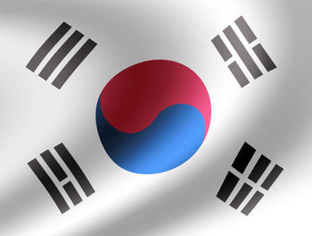 Waving national flag illustration (south korea)