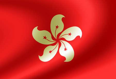 Waving national flag illustration (Hong kong)