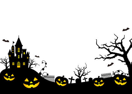 Halloween silhouette (pumpkin, castle etc.) vector illustration. 일러스트