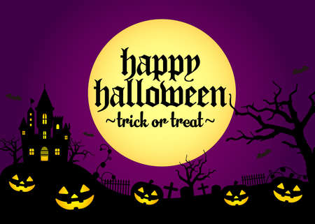 Halloween silhouette background vector illustration. Poster (flyer) template design  purple 일러스트