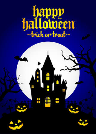 Halloween silhouette background vector illustration. Poster (flyer) template design  blue