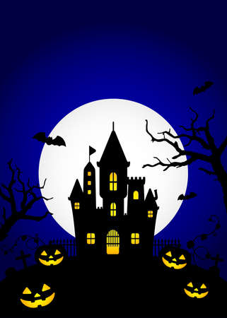 Halloween silhouette background vector illustration. Poster (flyer) template design (text space)  blue