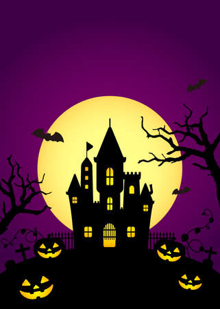 Halloween silhouette background vector illustration. Poster (flyer) template design (text space)  purple