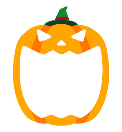 Halloween pumpkin head (jack o lantern) illustration (mouth open)  text space