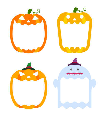 Halloween pumpkin head (jack o lantern) illustration (mouth open) set with ghost illustration  text space