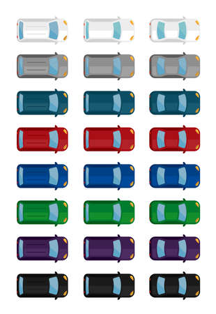 various cars (mini, wagon etc.) vector flat icon set (view from above)