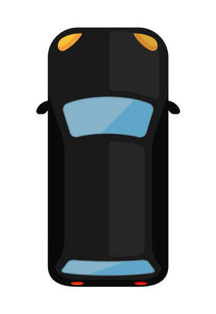mini car (view from above) vector flat icon  black