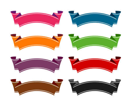 ribbon banner template flat vector illustration set 일러스트