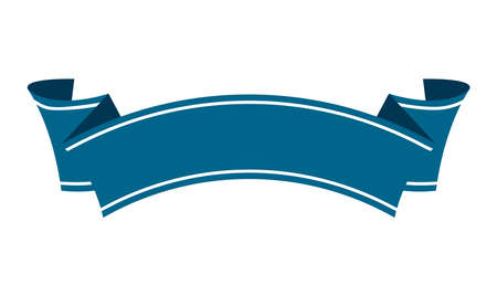 ribbon banner template flat vector illustration  blue