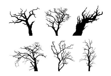 Old leafless tree silhouette vector illustration set