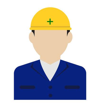 Young male worker avatar flat illustration (upper body)  blue collar worker, construction worker Ilustração