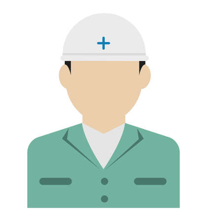 Young male worker avatar flat illustration (upper body) / blue collar worker, rescue worker Standard-Bild - 129348045