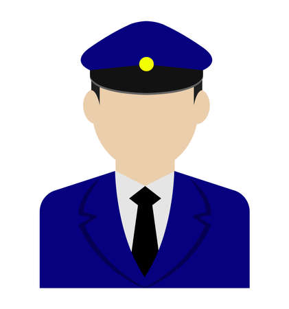 Young male worker avatar flat illustration (upper body)  police man, bus driver  イラスト・ベクター素材
