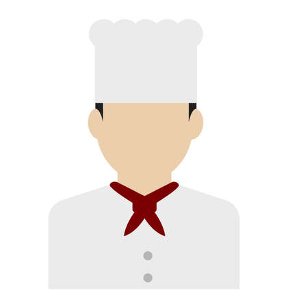 Young male worker avatar flat illustration (upper body) / chef, cook Standard-Bild - 129348039